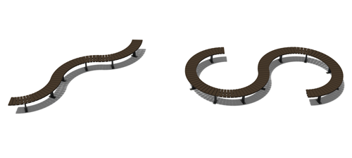Banquette contour quart de cercle en plastique recyclé et pieds acier - de nombreuses combinaisons possibles ! ESPACE URBAIN