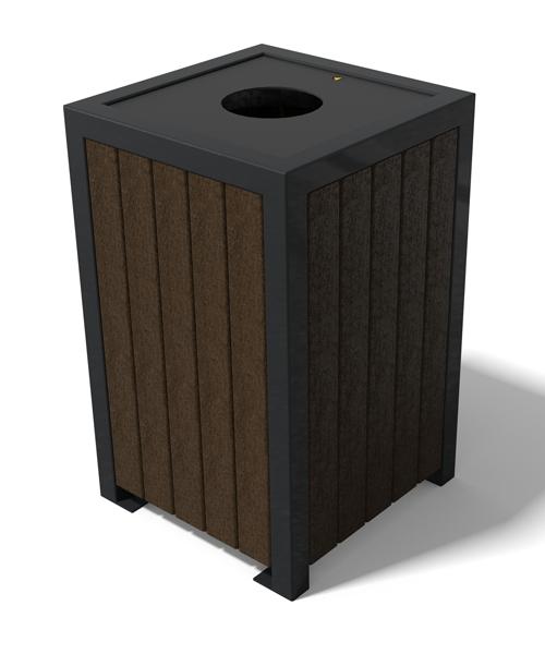 poubelle en plastique recycle sur ossature en metal ideal en centre-ville - Corbeille ÉLÉGANCE Premium ESPACE URBAIN