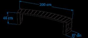 Shéma :banquette courbe ESCAPADE