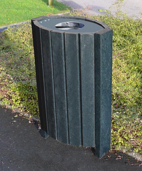 corbeille ovale en plastique recyclé avec couvercle gamme escapade - Corbeille ovale avec couvercle ESCAPADE ESPACE URBAIN