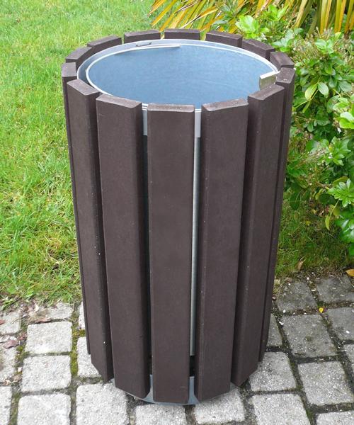 corbeille ronde en plastique recyclé sans couvercle gamme escapade - Corbeille ronde sans couvercle ESCAPADE ESPACE URBAIN