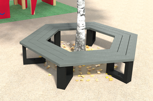 banquette tour arbre hexagonale en plastique 100% recycle gamme escapade enfant - Banquette tour d'arbre hexagonal ESCAPADE ESPACE URBAIN