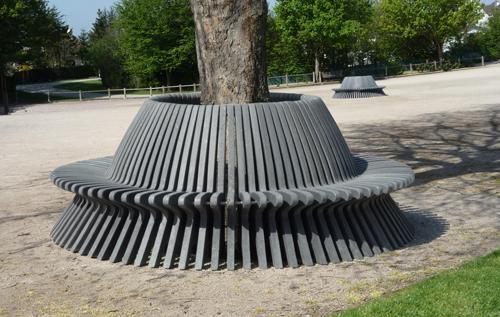 Banc Palabre demi rond en plastique recyclé - Banc demi-rond PALABRE ESPACE URBAIN