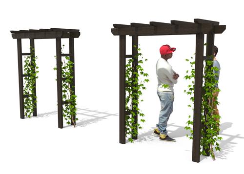 pergola en plastique recycle pour vegetalisation de centres villes et parc - PERGOLA simple arche ESPACE URBAIN
