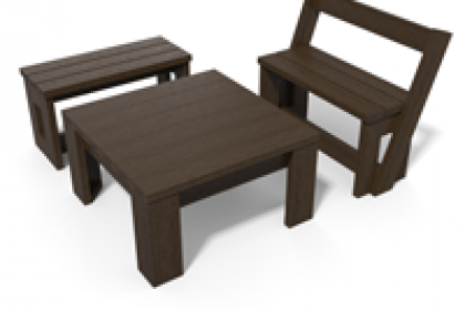 ensemble table basse banc banquette 100% plastique recycle gamme canopee