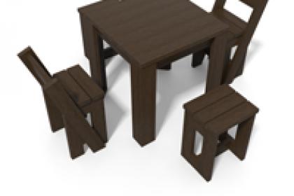 ensemble table et chaises en plastique recycle gamme canopee