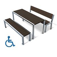 table pique-nique metal et plastique recycle gamme elegance