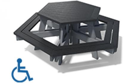 table pique-nique hexagonale 100% plastique recycle gamme gala