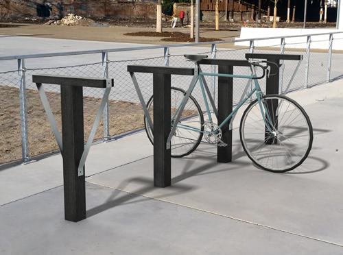 Range vélo de la gamme Madrid en plastique 100% recyclé et fer-plats inox - Range-vélo MADRID ESPACE URBAIN