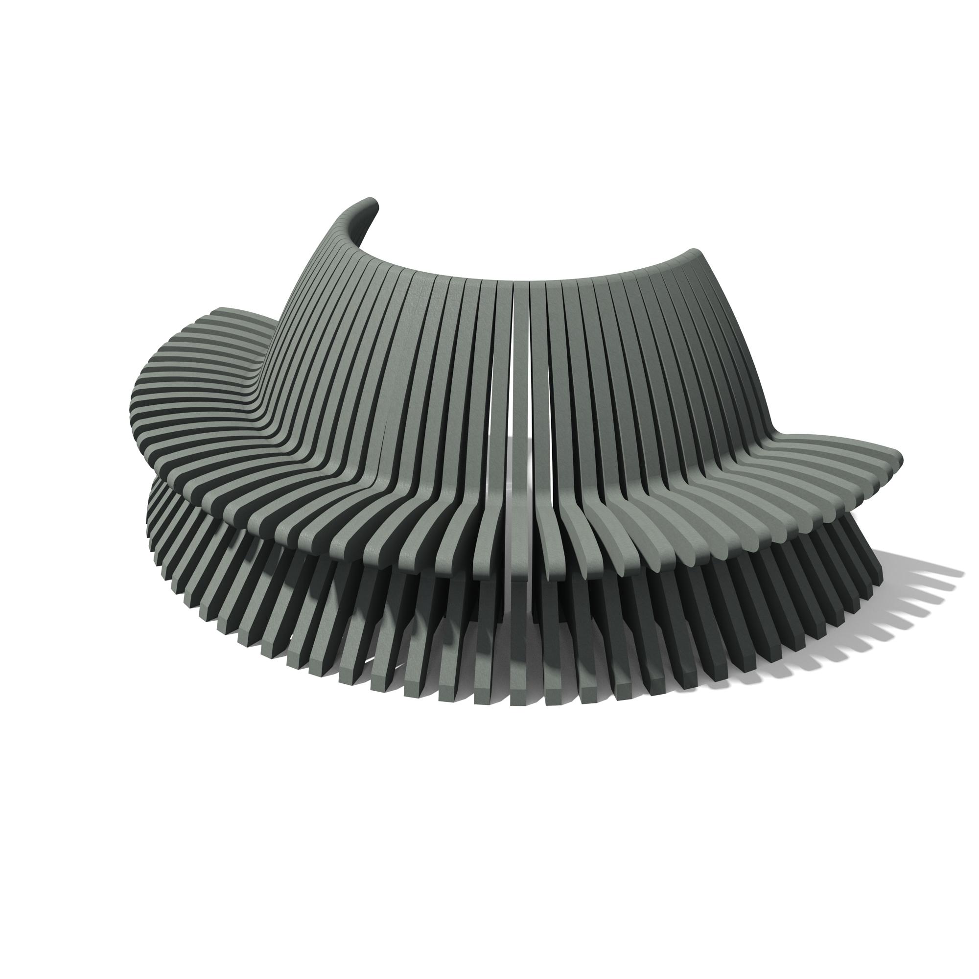 banc demi-rond plastique 100% recyclé gamme palabre