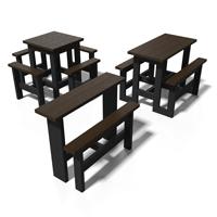 tables hautes mange-debout en plastique 100% recycle gamme snack