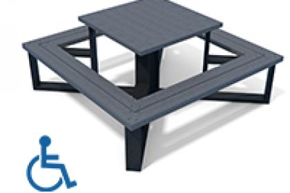 table pique-nique carre adaptee pmr en plastique recycle