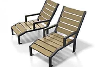 chaise longue plastique recyclé et métal gamme élégance