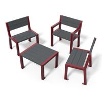 chaise, fauteuil et table basse en plastique recyclé et métal gamme