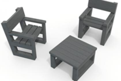 fauteuil et table basse 100% plastique recyclé gamme Escapade