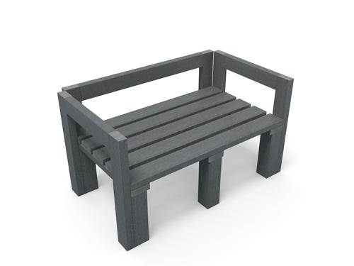 Module en plastique recycle avec assise dossier et accoudoir gamme swops - Module Swops ESPACE URBAIN