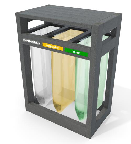 poubelle point-tri 3 sacs en plastique 100% recycle  avec protege-pluie vigipirate - Point-tri 3 sacs Vigipirate avec protège-pluie ESPACE URBAIN