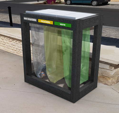 poubelle point-tri 3 sacs en plastique 100% recycle vigipirate - Point-tri 3 sacs Vigipirate avec trappes ESPACE URBAIN