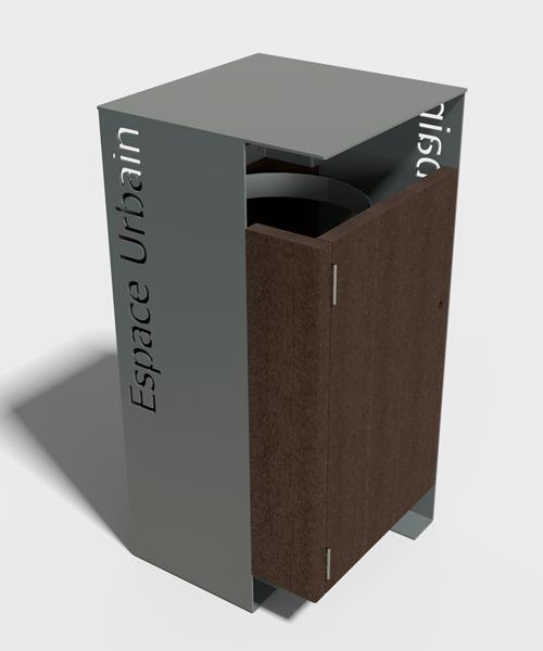 decoupe laser personnalisee sur corbeille plastique recycle et metal - Option découpe laser ESPACE URBAIN