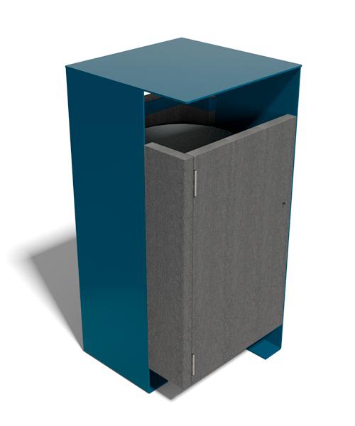 corbeille metal et plastique 100% recycle moderne et colore - Corbeille Colorplast ESPACE URBAIN