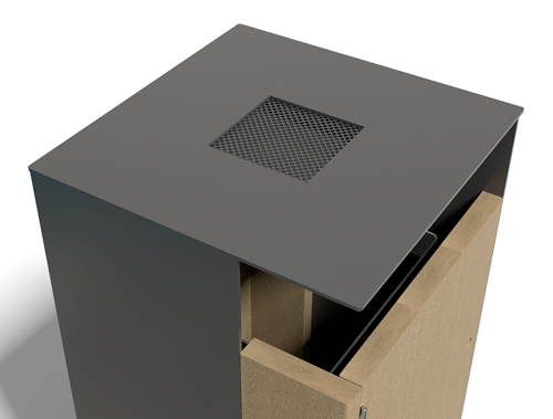 cendrier pour poubelle en plastique recycle et metal - Option cendrier ESPACE URBAIN