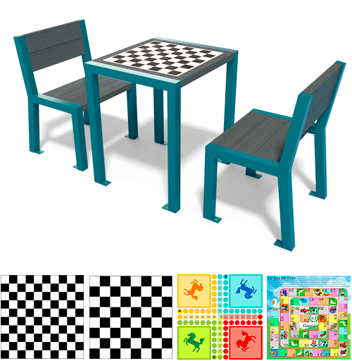 table de jeu plastique recycle et metal gamme elegance - Table de jeu ÉLÉGANCE ESPACE URBAIN