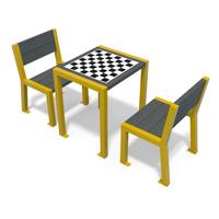 table de jeu en plastique recycle et metal avec chaises gamme elegance