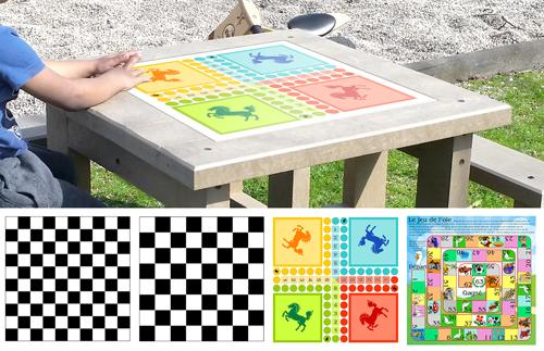 table plastique recycle avec plaque de jeu pour enfant gamme pimpom - Option plateau de jeu ESPACE URBAIN