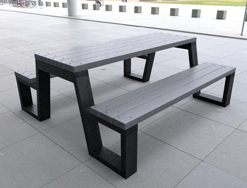 table pique nique 100% plastique recycle gamme garrigue - Table de pique-nique GARRIGUE ESPACE URBAIN