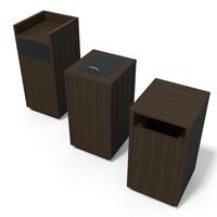 corbeille poubelle en plastique recycle carre trappe protege-pluie gamme equilibre
