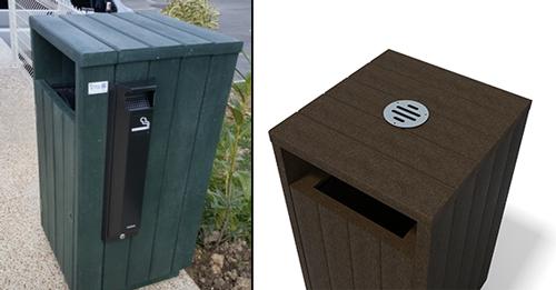 option cendrier amovible pour corbeille en plastique recycle - Option cendrier amovible ESPACE URBAIN